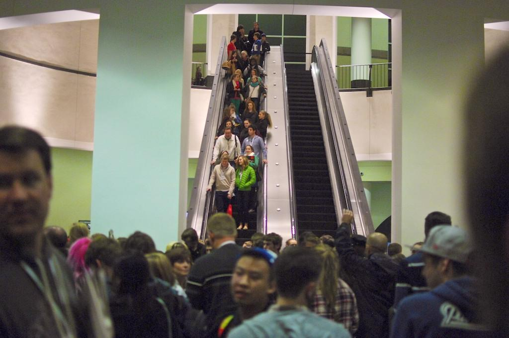Students and advisers move between workshops at the NSPA's fall conference in Boston. More than 5,000 high school student journalists attended the conference from across the country and world.